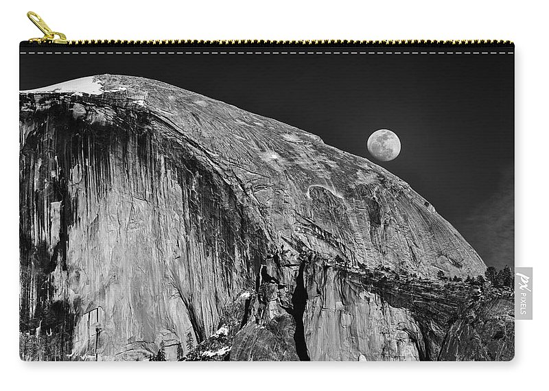 Yosemite Carry-all Pouch featuring the photograph Moonrise Over Half Dome by Terry Garvin