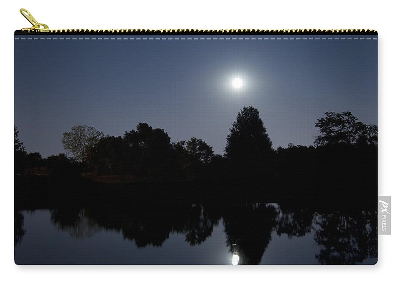 Moon Carry-all Pouch featuring the photograph Moonrise Over The Lake by Alexey Stiop