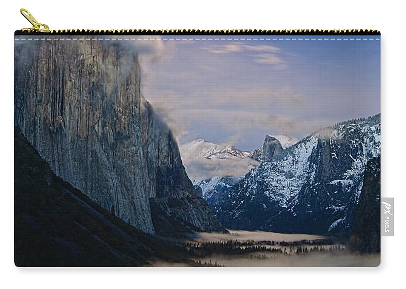 Moonrise Carry-all Pouch featuring the photograph Moonrise Over Yosemite National Park by Jamie Pham