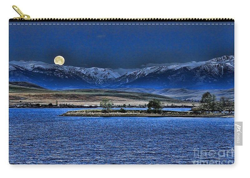 Cooney Carry-all Pouch featuring the photograph Moonset Over Cooney by Gary Beeler