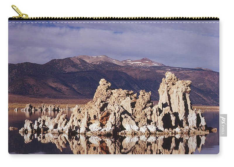 Nature Photography Carry-all Pouch featuring the photograph Moonset Over Tufa by Tom Daniel
