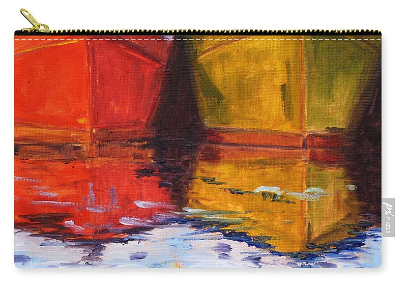 Puget Sound Carry-all Pouch featuring the painting Moored by Nancy Merkle