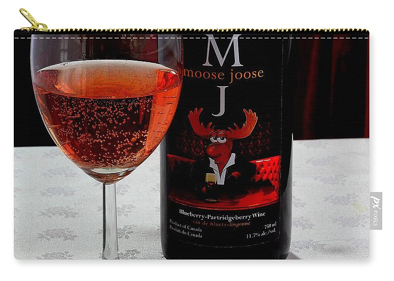 Moose Joose Carry-all Pouch featuring the photograph Moose Joose - Blueberry Partridgeberry Wine by Barbara Griffin