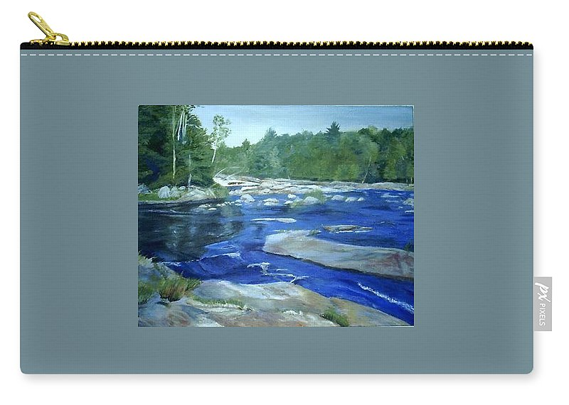 Moose River Carry-all Pouch featuring the painting Moose River Lyons Falls by Sheila Mashaw