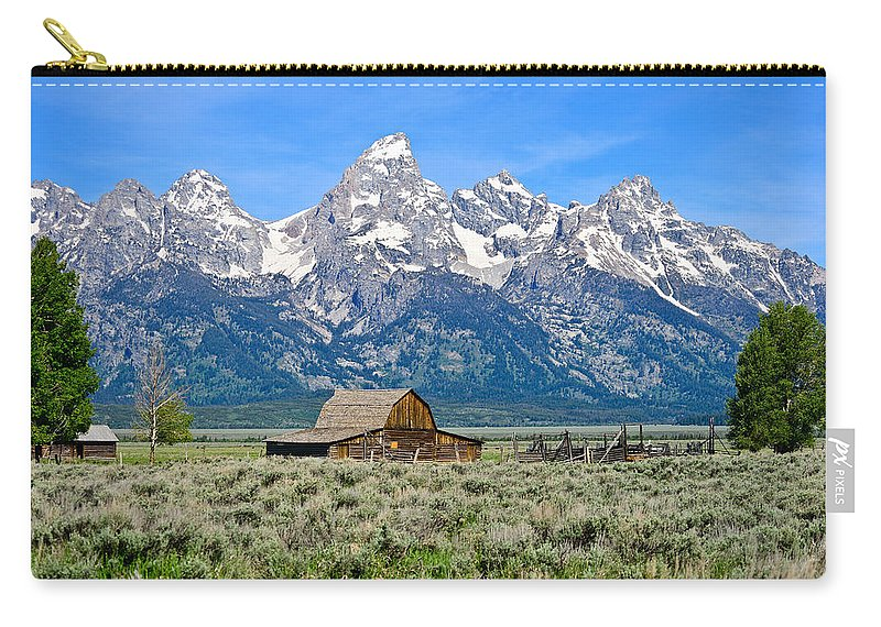 Grand Teton National Park Carry-all Pouch featuring the photograph Mormon Row by Greg Norrell