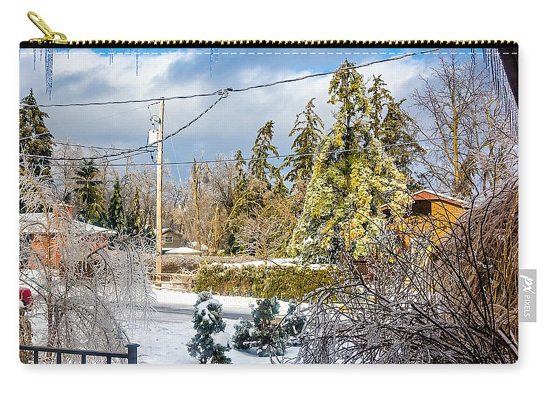 Steve Harrington Carry-all Pouch featuring the photograph Morning After The Ice Storm by Steve Harrington