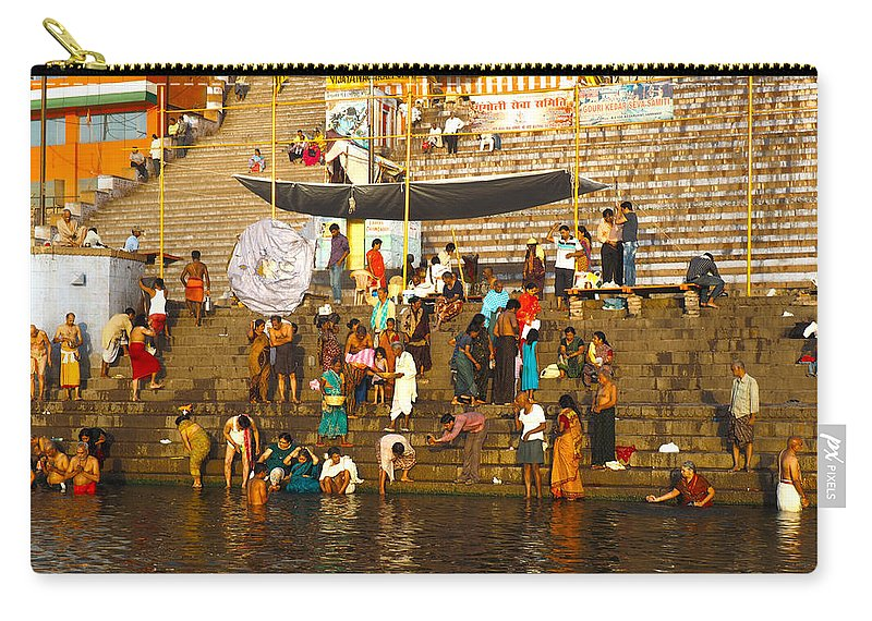 Morning Carry-all Pouch featuring the photograph Morning Bathing At Kedar Ghat by C H Apperson