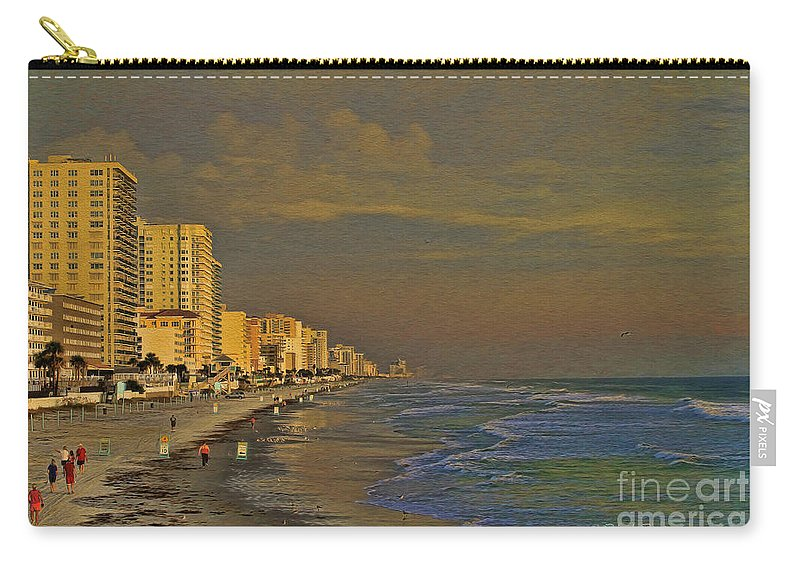 Beach Carry-all Pouch featuring the photograph Morning Beach Walk by Deborah Benoit