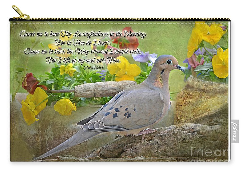 Nature Carry-all Pouch featuring the photograph Morning Dove With Verse by Debbie Portwood