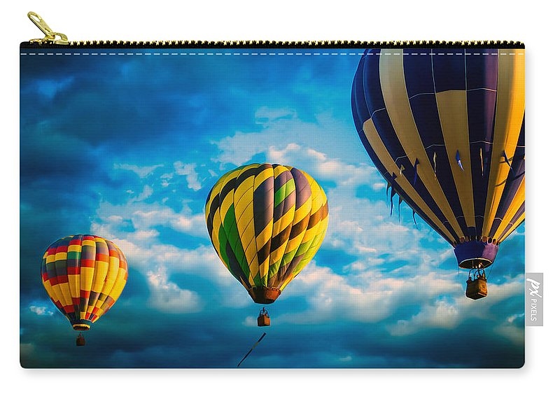 Hot Air Balloon Carry-all Pouch featuring the photograph Morning Flight Hot Air Balloons by Bob Orsillo