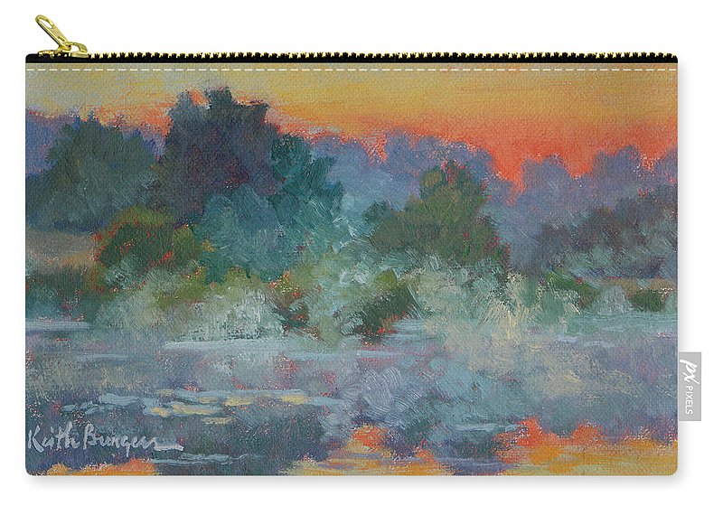 Impressionism Carry-all Pouch featuring the painting Morning Fog by Keith Burgess