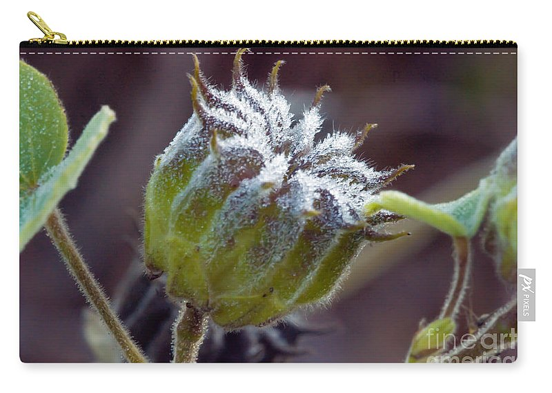 Fuzzy Flower Carry-all Pouch featuring the photograph Morning Frost by Optical Playground By MP Ray