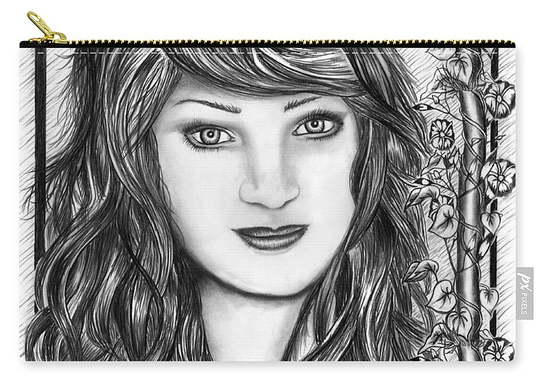 Morning Glory Carry-all Pouch featuring the drawing Morning Glory by Peter Piatt