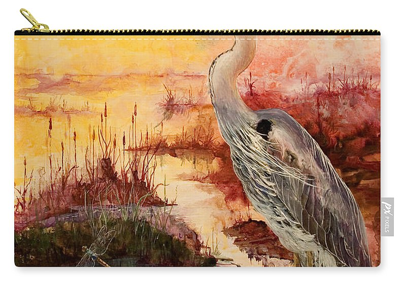 Sunrise Carry-all Pouch featuring the painting Morning Has Broken by Sherry Shipley
