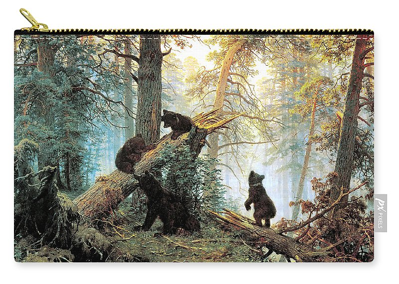 Morning In A Pine Forest Carry-all Pouch featuring the digital art Morning In A Pine Forest by Ivan Shishkin