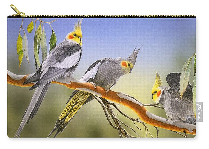 Cockatiel Carry-all Pouch featuring the painting Morning Light - Cockatiels by Frances McMahon