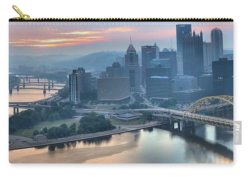 Pittsburgh Panorama Carry-all Pouch featuring the photograph Morning Light Over The City Of Bridges by Adam Jewell