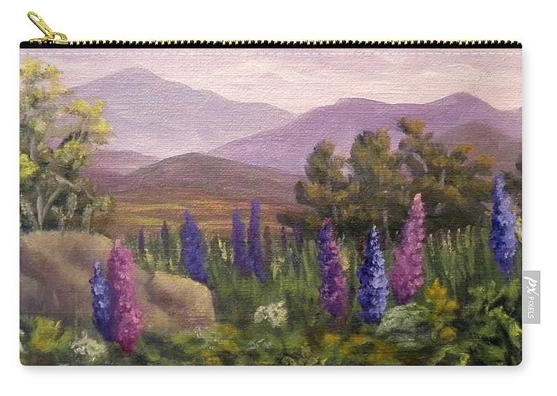 Lupines Carry-all Pouch featuring the painting Morning Lupines by Sharon E Allen