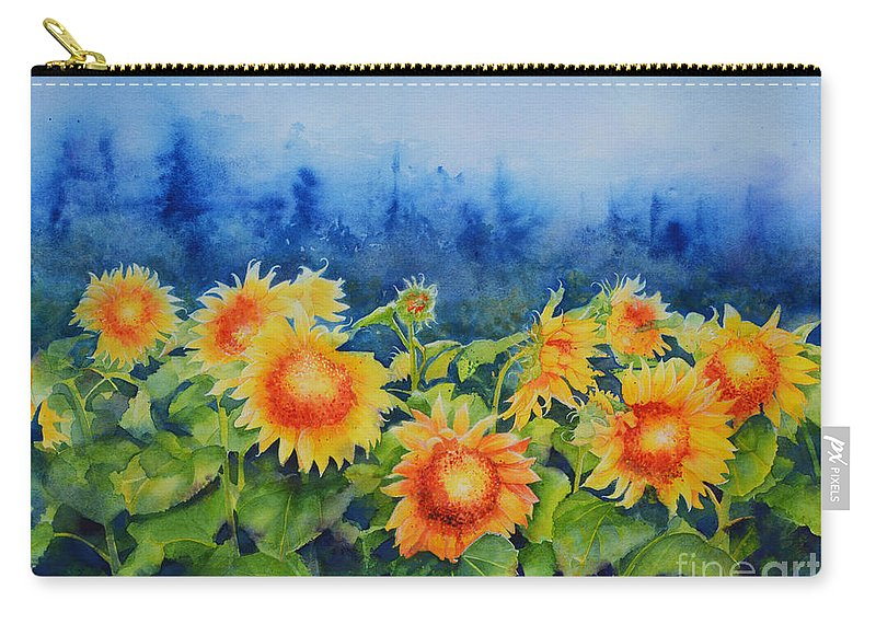 Watercolor Sunflower Painting Carry-all Pouch featuring the painting Morning Mist 2 by H Cooper