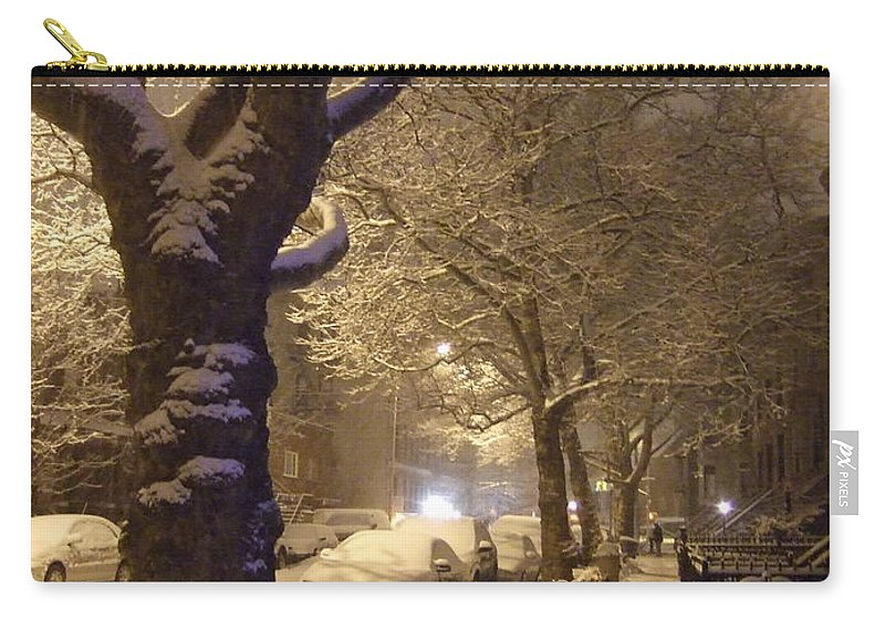 Carry-all Pouch featuring the photograph Morning Snow by Katerina Naumenko
