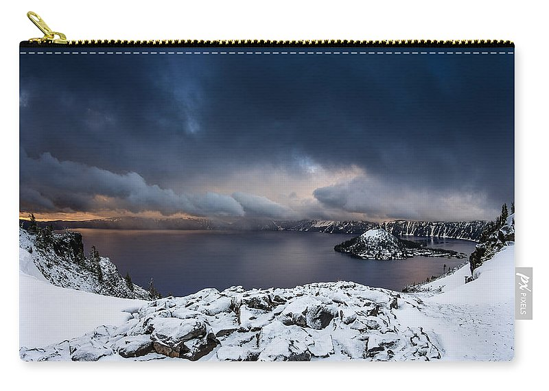 Cascades Carry-all Pouch featuring the photograph Morning Storm At Crater Lake by Greg Nyquist