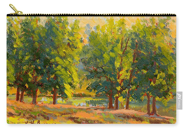 Impressionism Carry-all Pouch featuring the painting Morning Through The Trees by Keith Burgess