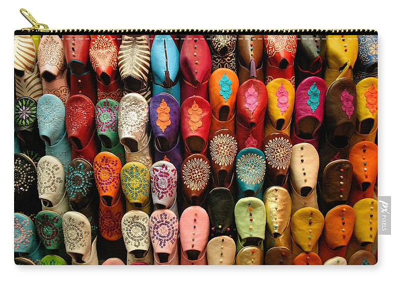 Babouches Carry-all Pouch featuring the photograph Moroccan Babouches Old Medina Marrakesh Morocco by Ralph A Ledergerber-Photography