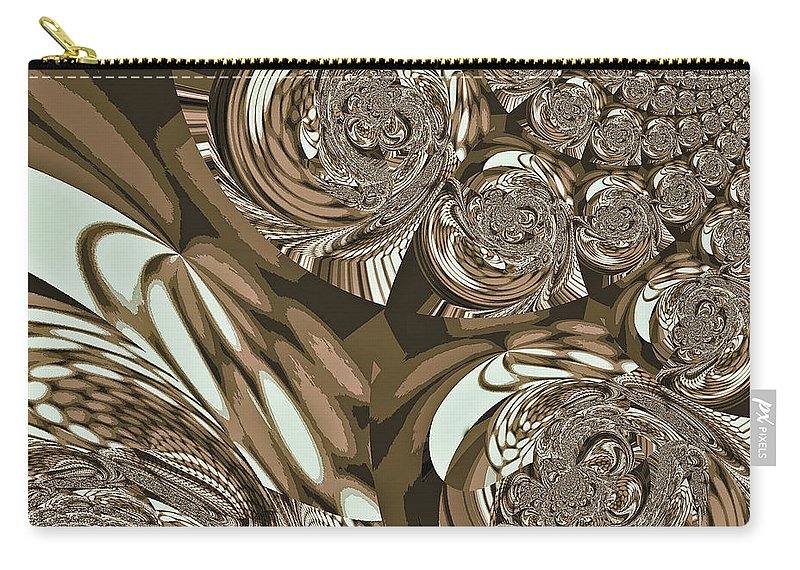 Moroccan Carry-all Pouch featuring the digital art Moroccan Lights - Brown by Absinthe Art By Michelle LeAnn Scott