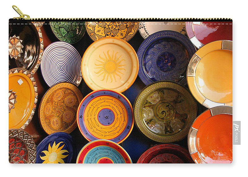 Morocco Carry-all Pouch featuring the photograph Moroccan Pottery On Display For Sale by Ralph A Ledergerber-Photography