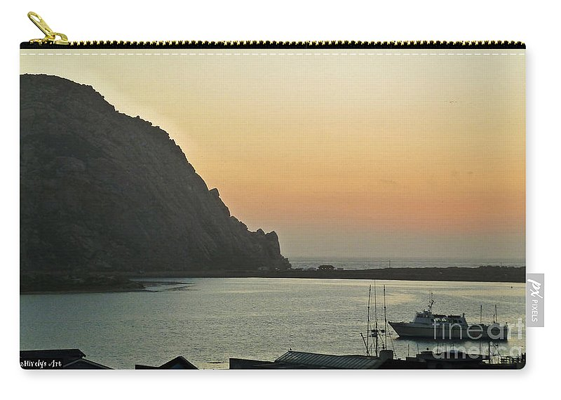 Morro Bay Sunset Carry-all Pouch featuring the photograph Morro Bay Sunset by Methune Hively