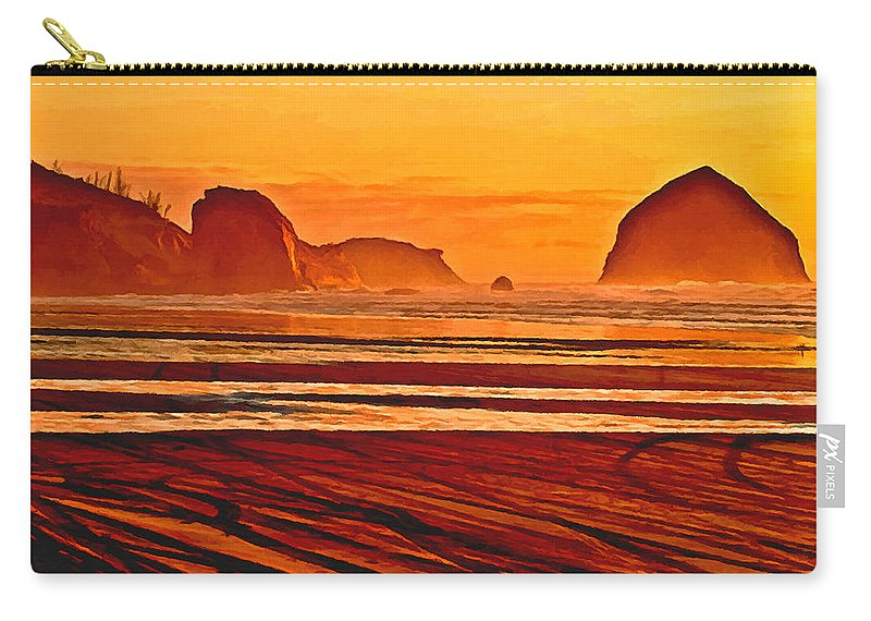 Johnston Carry-all Pouch featuring the painting Morro Rock Painting by Bob and Nadine Johnston