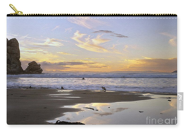 Morro Rock Carry-all Pouch featuring the digital art Morro Rock Park by Sharon Foster