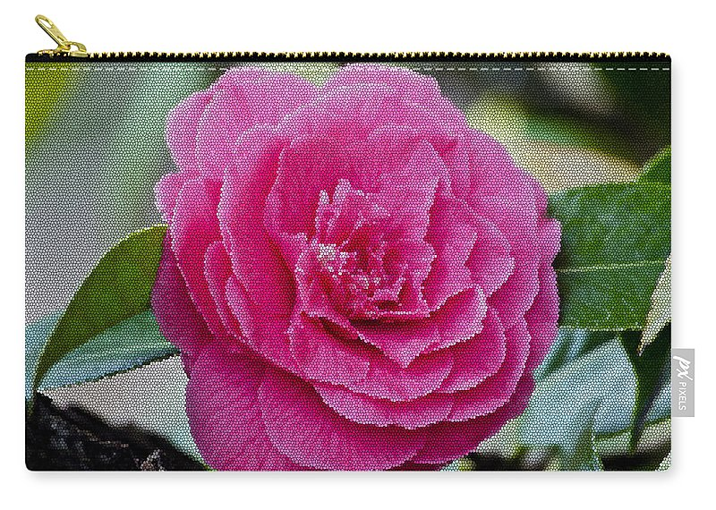Mosaic Camillia Flower Carry-all Pouch featuring the photograph Mosaic Camillia by Tikvah's Hope
