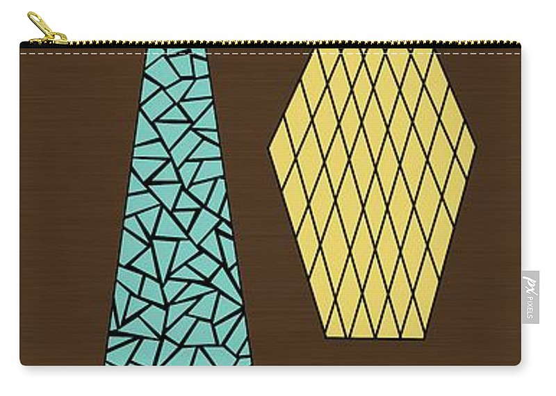 Mid Century Modern Carry-all Pouch featuring the digital art Mosaics 1 by Donna Mibus
