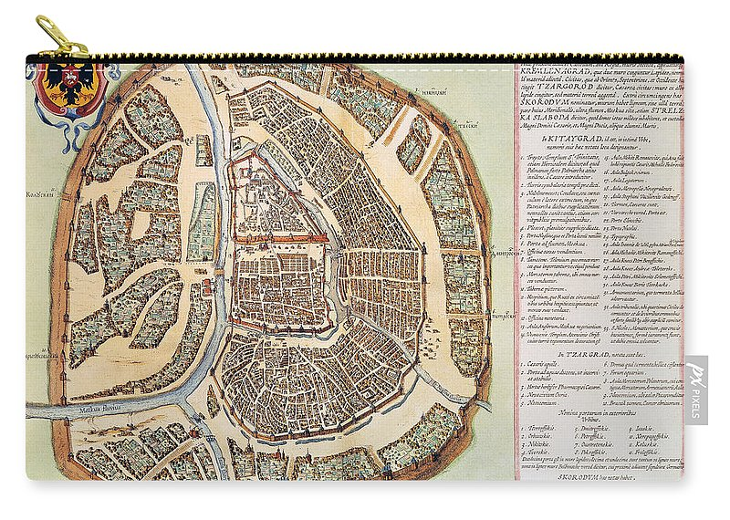 1662 Carry-all Pouch featuring the photograph Moscow: Map, 1662 by Granger