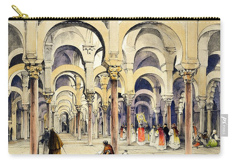 Spanish Carry-all Pouch featuring the drawing Mosque At Cordoba, From Sketches by John Frederick Lewis