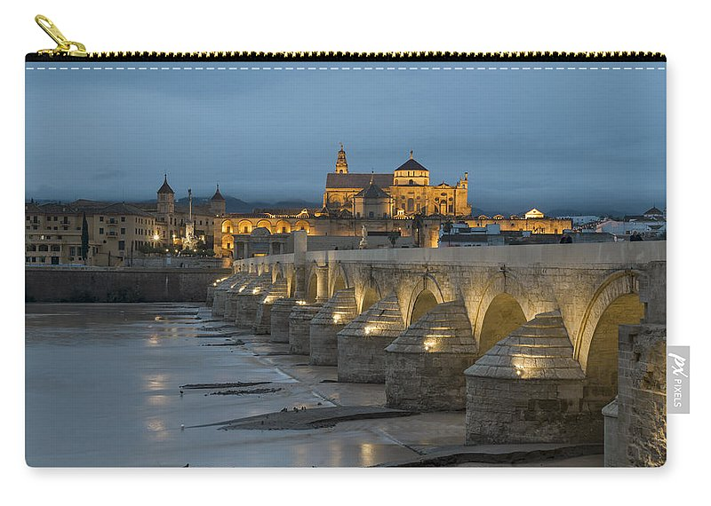 Mosque Cathedral Of Cordoba Carry-all Pouch featuring the photograph Mosque Cathedral Of Cordoba Also Called The Mezquita And Roman Bridge by Ayhan Altun