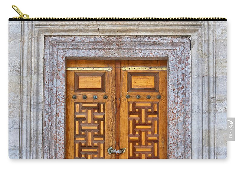 Door Carry-all Pouch featuring the photograph Mosque Doors 04 by Antony McAulay