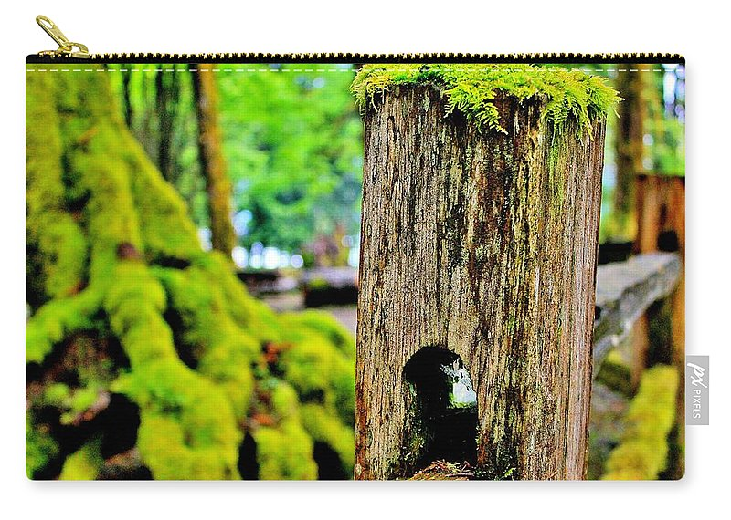 Moss Carry-all Pouch featuring the photograph Mosspost by Benjamin Yeager