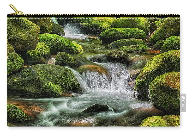 Water Carry-all Pouch featuring the photograph Mossy Stream E219 by Wendell Franks