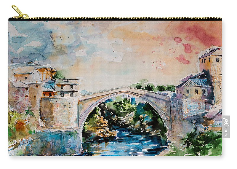 Mostar Carry-all Pouch featuring the painting Mostar Bridge by Kovacs Anna Brigitta
