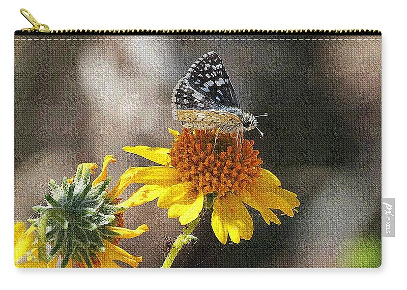 Moth And Flower Carry-all Pouch featuring the photograph Moth And Flower by Tom Janca