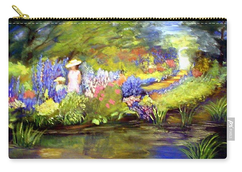 Flower Garden Carry-all Pouch featuring the painting Mother And Daughter by Gail Kirtz