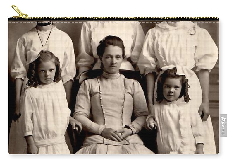 Vintage Carry-all Pouch featuring the photograph Mother And Daughters by Image Takers Photography LLC