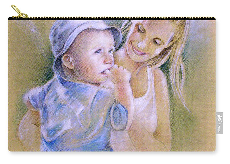 Portrait Carry-all Pouch featuring the painting Mother And Son by Miki De Goodaboom