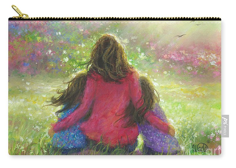 Twin Girls Carry-all Pouch featuring the painting Mother And Twin Girls In Garden by Vickie Wade