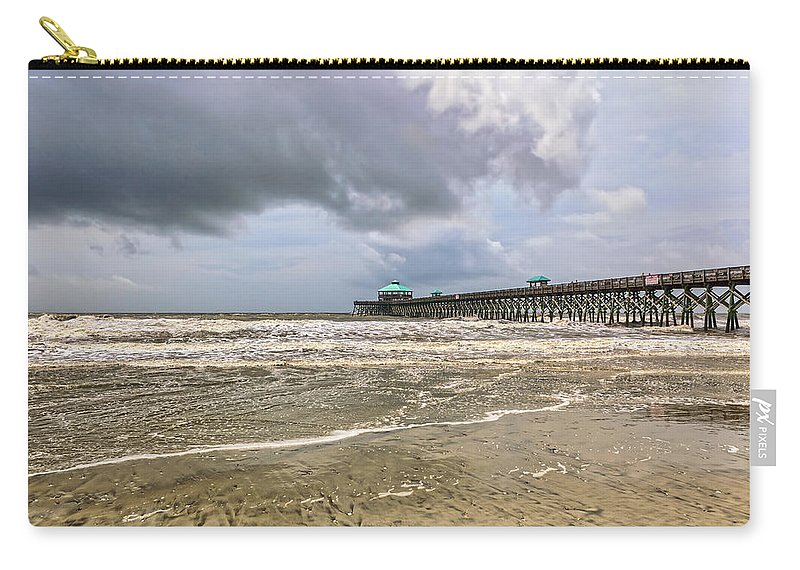 Beach Life Guard Carry-all Pouch featuring the photograph Mother Nature's Wrath by Sennie Pierson