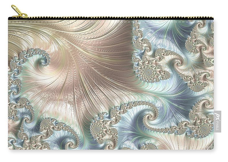 Fractal Carry-all Pouch featuring the digital art Mother Of Pearl - A Fractal Abstract by Ann Garrett