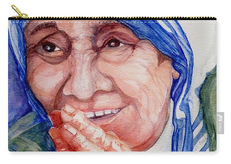 Elle Fagan Carry-all Pouch featuring the painting Mother Teresa by Elle Smith Fagan