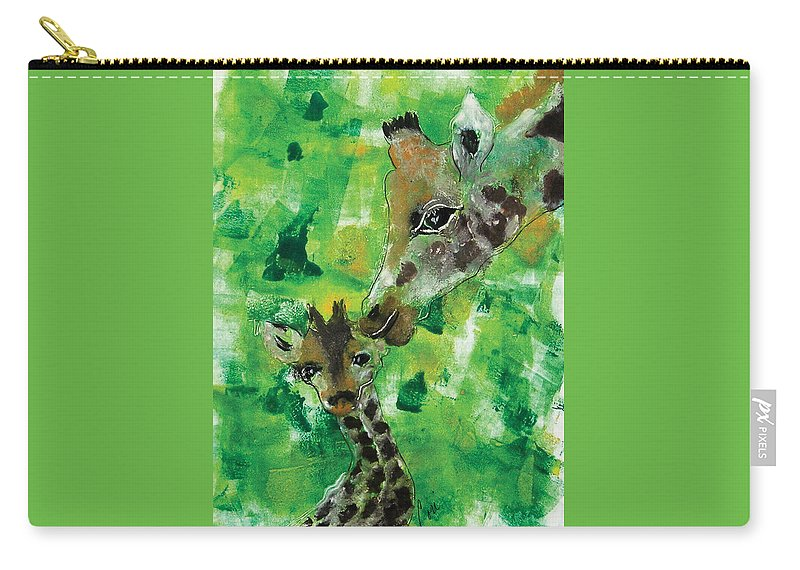 Giraffes Carry-all Pouch featuring the mixed media Motherly Love by Cori Solomon